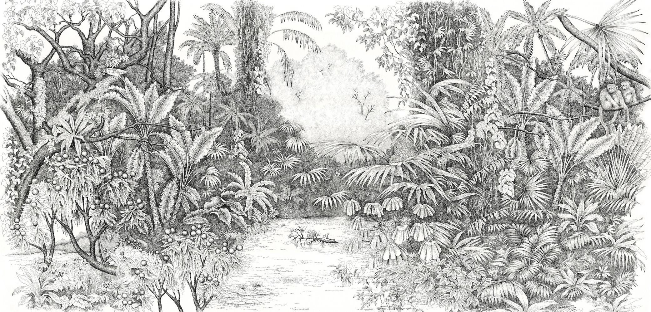 papier peint panoramique ananb l 39 le aux perroquets noir et blanc. Black Bedroom Furniture Sets. Home Design Ideas