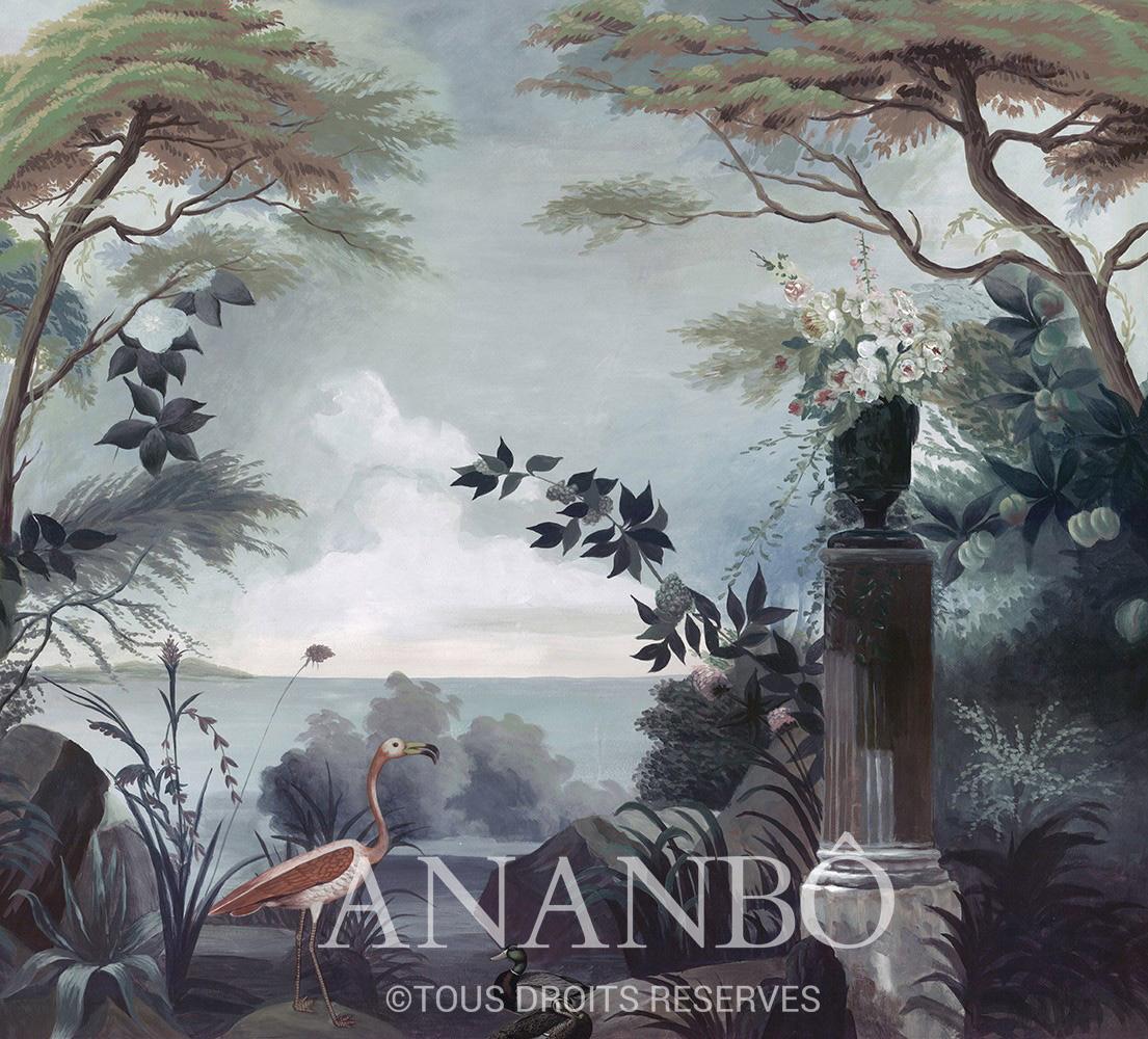 Papier Peint Panoramique Ananbo Le Jardin Au Flamant Rose Couleur