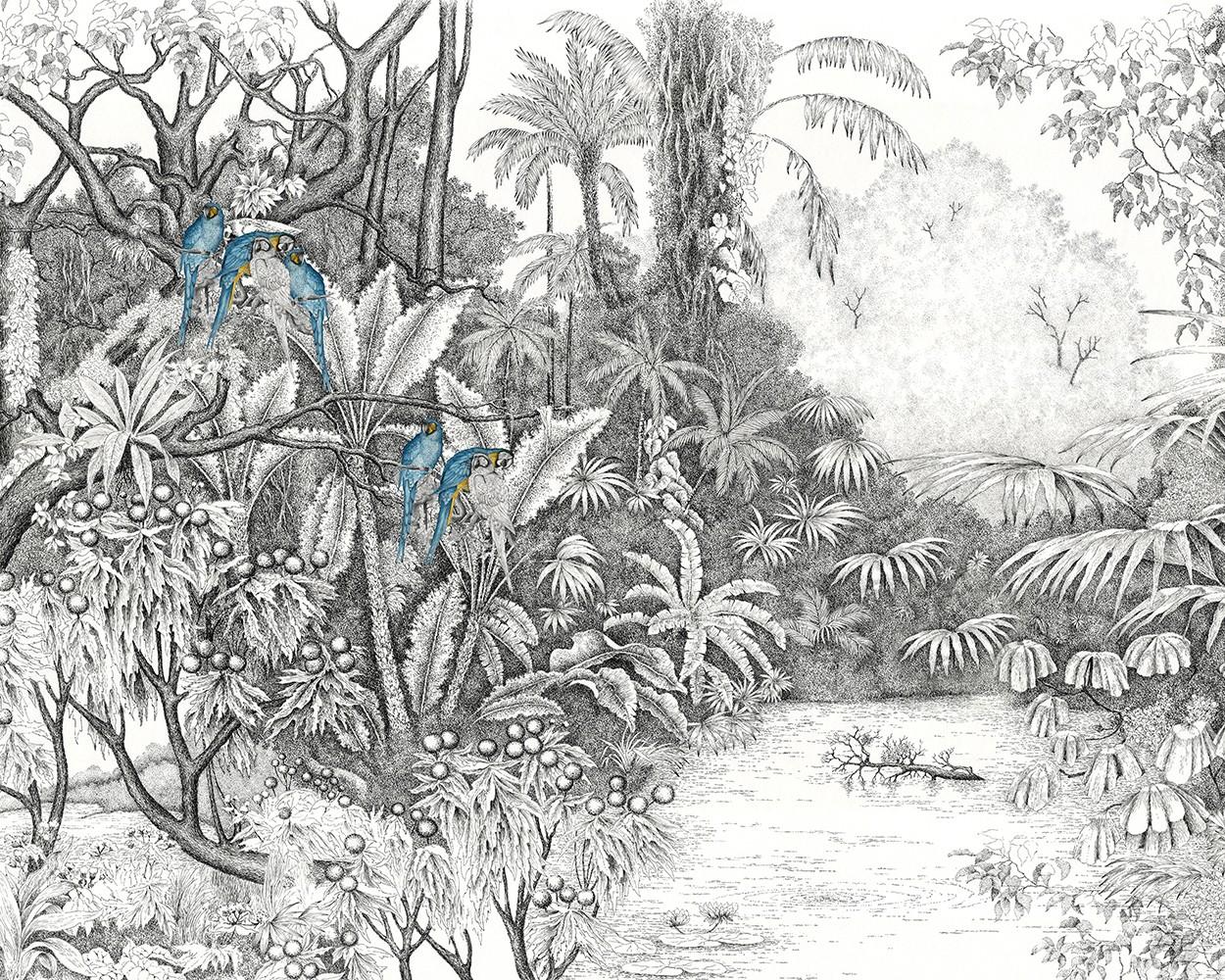 Papier Peint Avec Perroquet l'île aux perroquets bleus