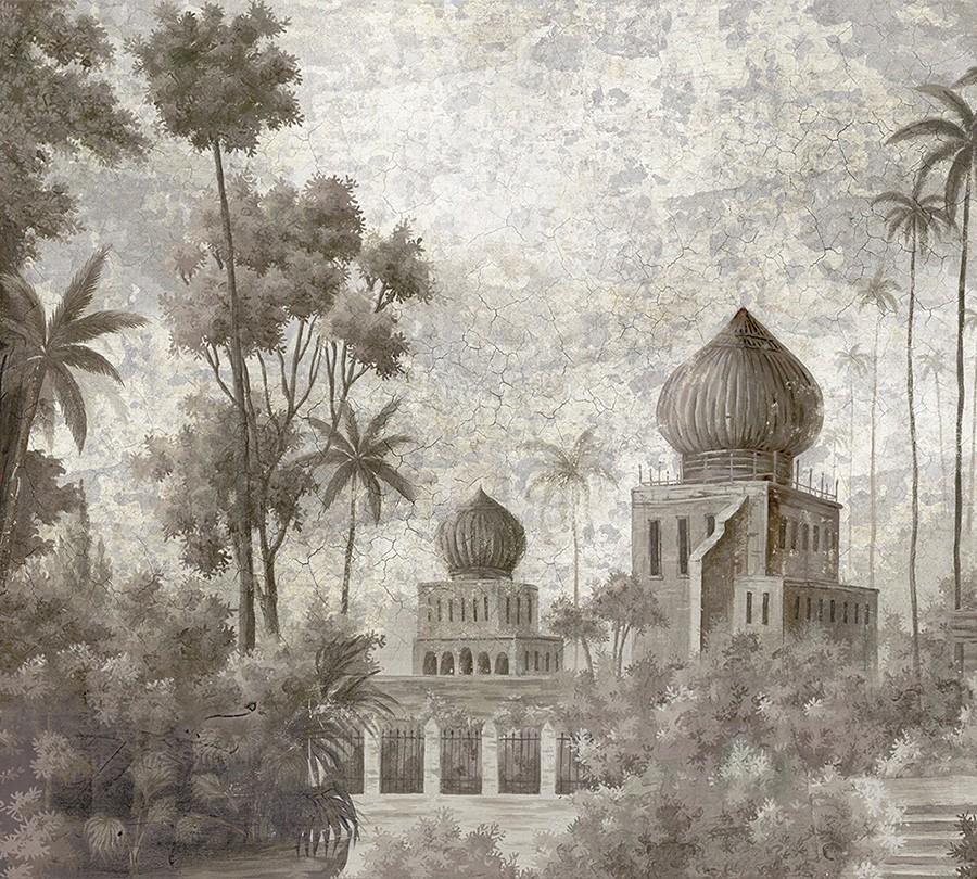 Papier Peint Ananbo Badalpur Grisaille Decor Vieilli Patine Xviiieme