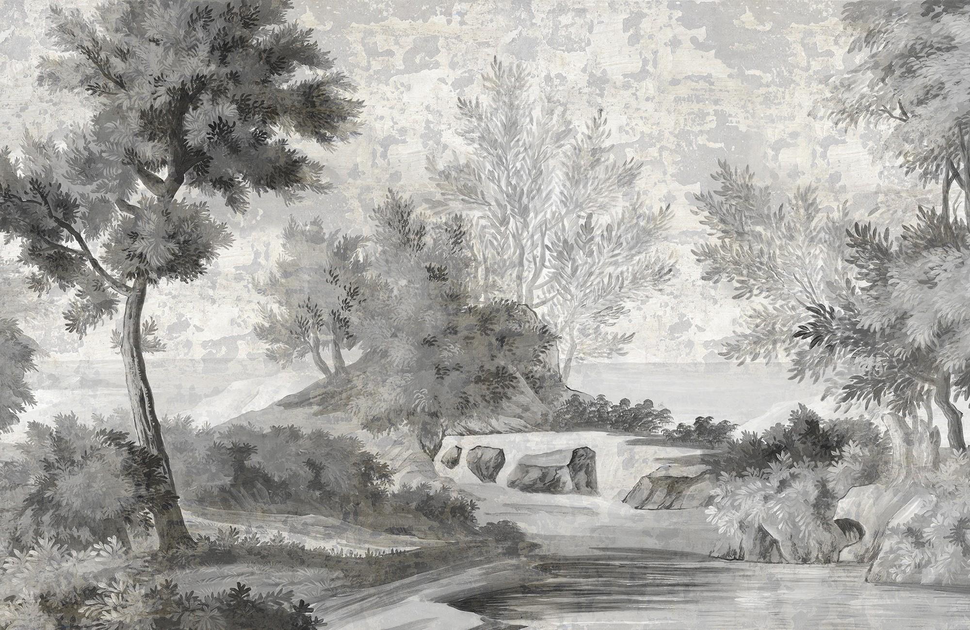 Papier Peint Panoramique Ananbo Le Chemin Des Demoiselles Grisaille