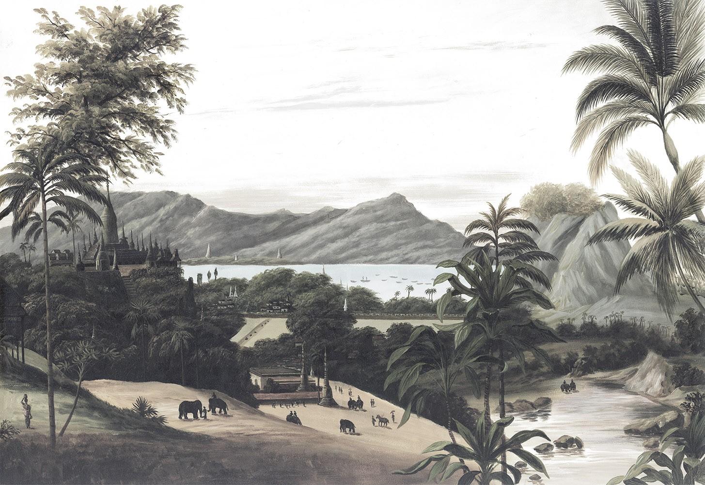 Papier Peint Panoramique Paysage Birman Grisaille