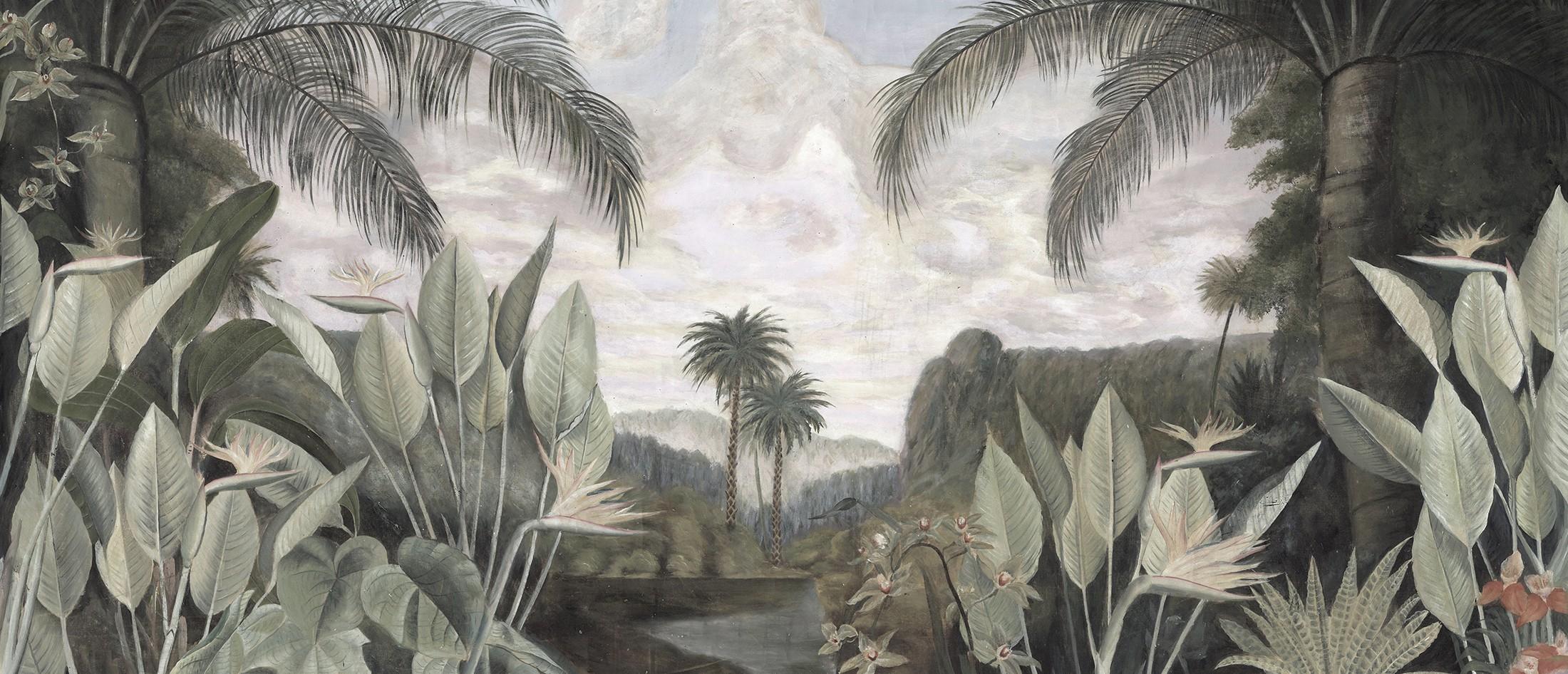 Papier Peint Panoramique Ananbô Tsaratana Grisaille Vieilli Et Patiné